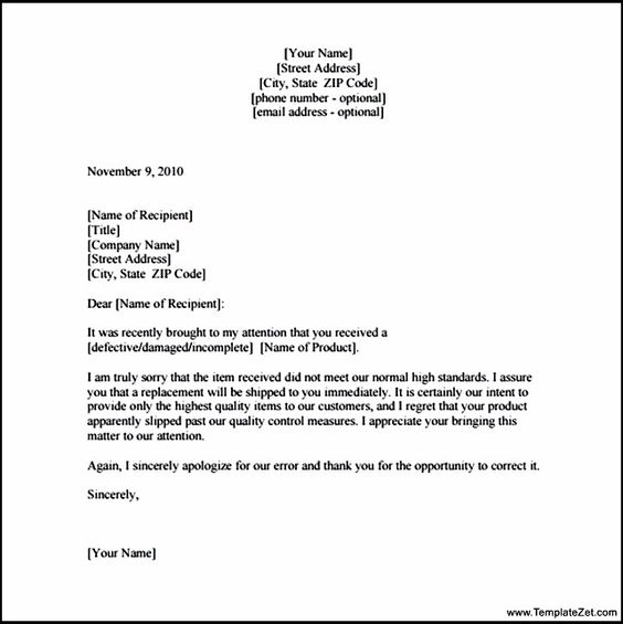 apology letter customer for damaged goods templatezet behavior - formal apology letters