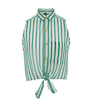 Green Pattern (Green) Innocence Green and White Stripe Tie Sleeveless Shirt | 281015239 | New Look