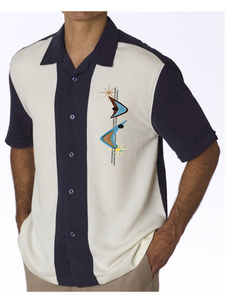 Navy Cream Mens Retro Shirt