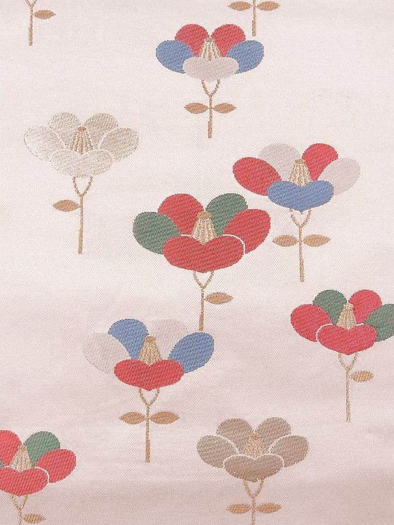Pattern detail, obi with camellia pattern.