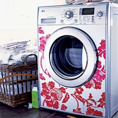 Dress up your plain washers/dryers with wall decals.