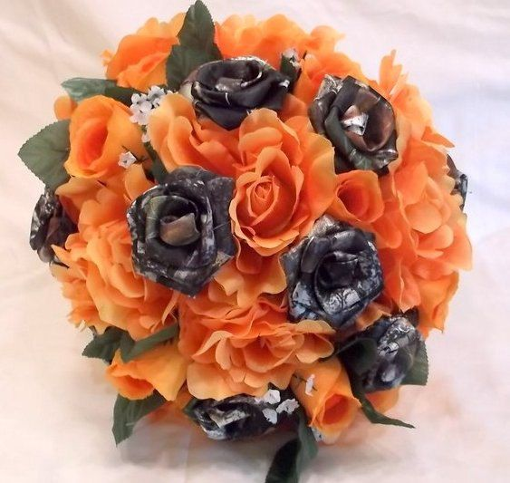 Camo Wedding Bouquet, Camo Bridal Bouquet, Mossy Oak Camo, Orange Silk Flowers, Camo Wedding Bullet Shells  Let us create a bouquet for you that will last forever.   THIS B...