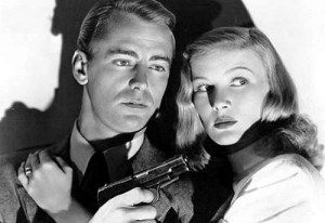 """Alan Ladd (1913-1964) und Veronica Lake (1922-1973). Gemeinsam spielten sie in sieben Filmen, überwiegend im Genre """"Film Noir""""."""