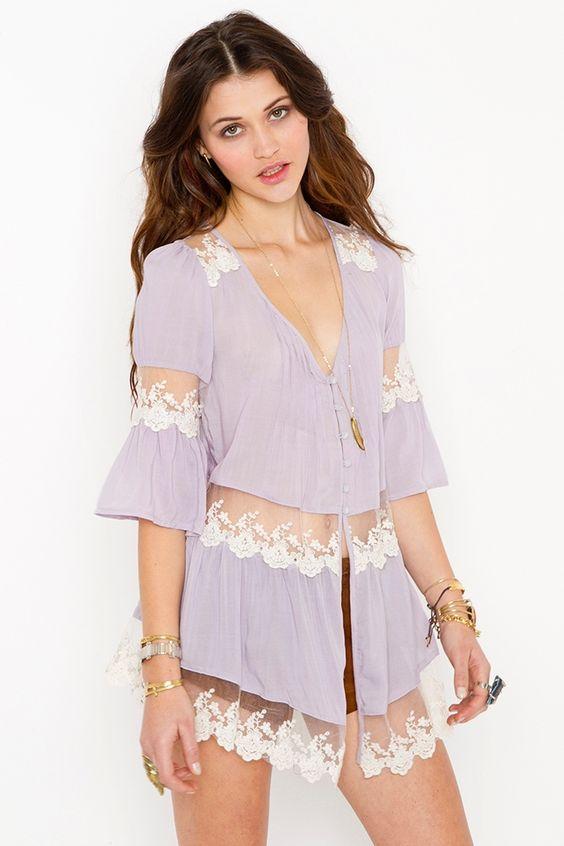 Ashbury Lace Top - Lavender