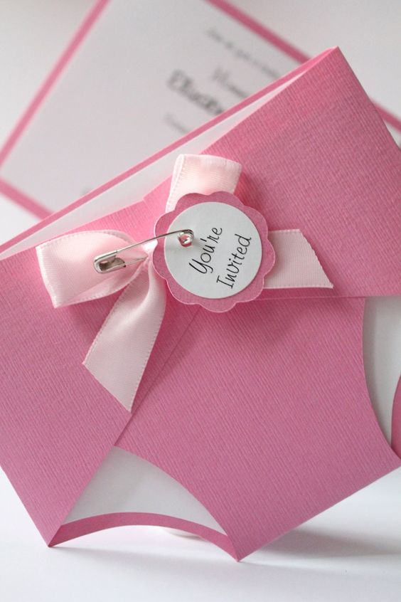Baby Diaper Shower Invitation - Bubblegum Pink - Baby - Girl or Boy - Personalize - New Baby - Baby Shower -