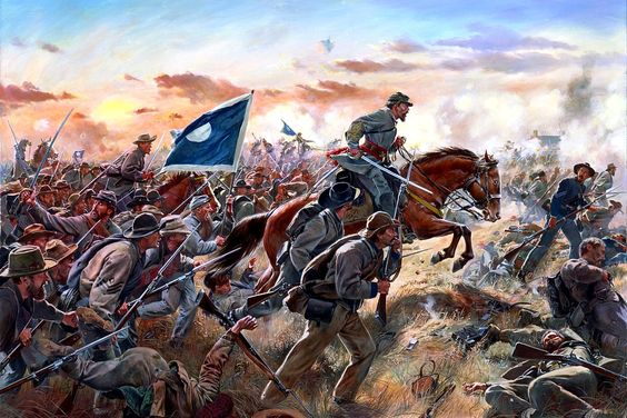 "Maj. Gen. Patrick R. Cleburne leads his Division in the assault upon the earthworks built around Franklin, TN by the Army of Ohio. Cleburne, in his last moments before the attack, would tell Brig. Gen. Daniel C. Govan ""Well, Govan, if we are to die, let us die like men."" Cleburne would be killed in the attack, shot through the chest after having two horses shot out from under him and cheering his men forward."