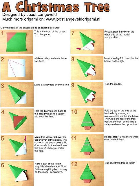 photo tutorial for how to make an origami christmas tree