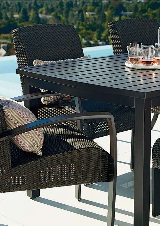With a sleek and contemporary design,  and durable construction to weather the elements, the Del Mar Dining Collection makes for the perfect outdoor dinner party location.