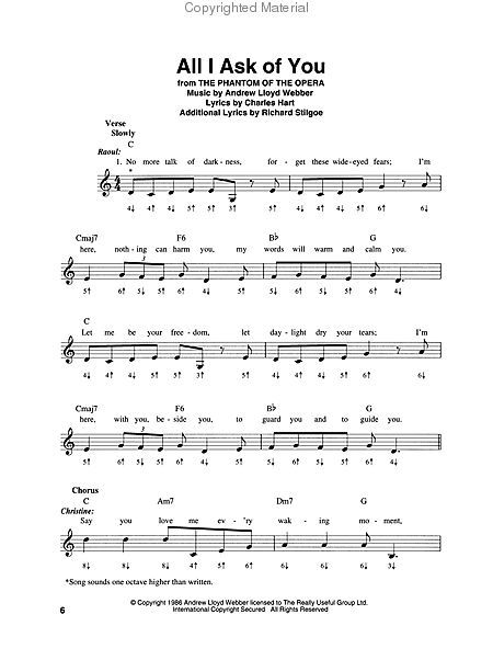 All I Ask of You - The Great Harmonica Songbook : Harmonica music : Pinterest : Sheet music, The ...