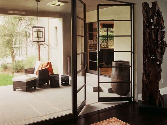 black french doors. love them.