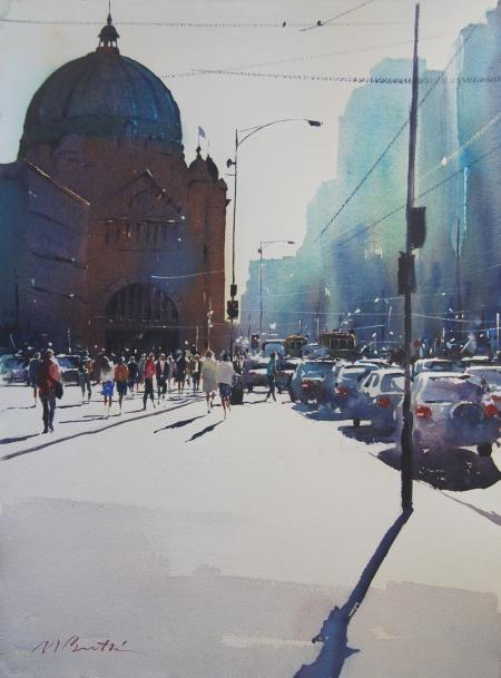 Artist: Malcolm Beattie - Title: Afternoon Light, Flinders Street (Height - 110.00 cm X Width - 89.00 cm )