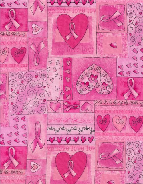 gail-c1766-pink | Pink Ribbon Heart Patch By Gail Cadden | Timeless Treasures