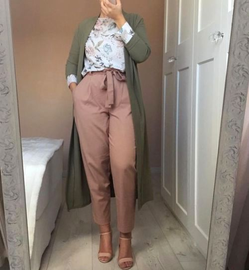 Tie pants-bow pants-dressy pants-Spring breathy hijab outfits – Just Trendy Girls