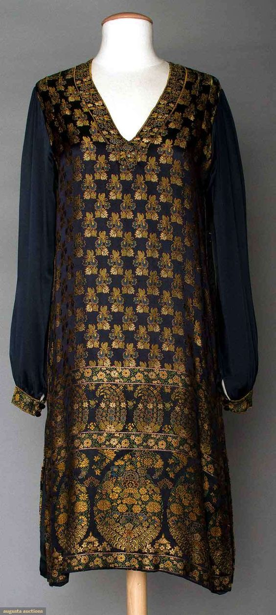 """SILK BROCADE DAY DRESS, 1920s  Navy satin ground w/ Persian inspired boteh & small flower pattern in gold & green, V neck, B """", H """", L """", excellent."""