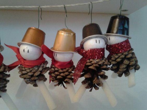 My first creation: Xmas pine cones for original Nespresso snowmen!