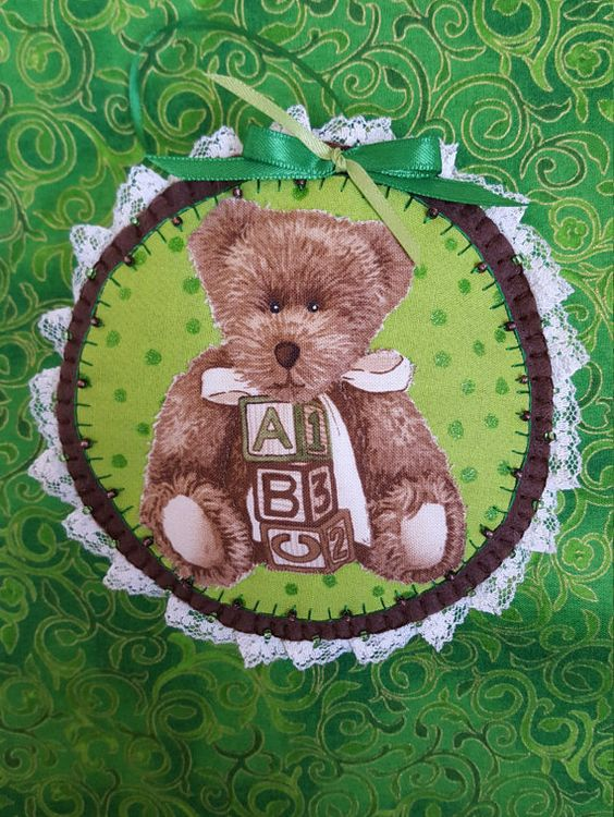 Bear felt and fabric ornament-Handmade by DebsArtsyEnchantment