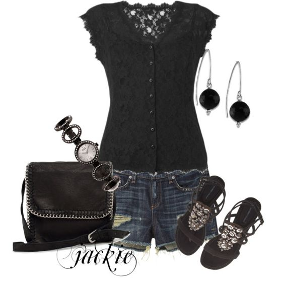 Denim and Black, created by jackie22 on Polyvore