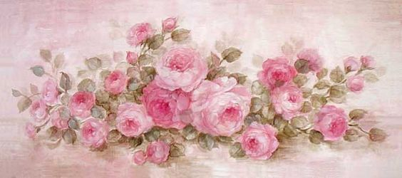 shabby chic pink roses painting: