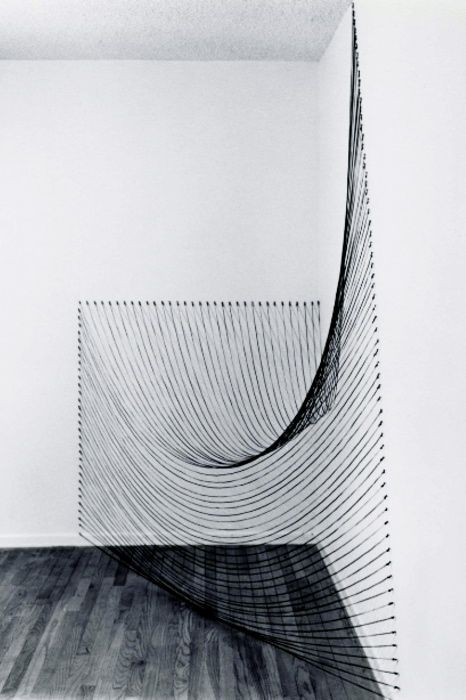 Dianne Romaine, installation with black string.: