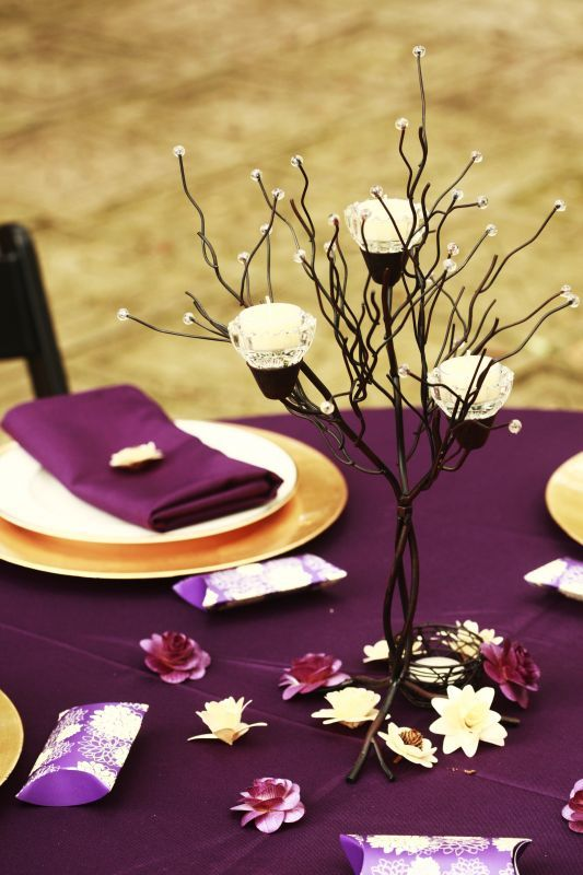 Simple Centerpiece :  wedding black budget candle tree centerpiece flowers gold ivory purple reception wrought iron  MG 0848
