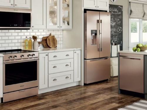 Sunset Bronze Appliances With White Cabinetry Kitchen Appliances