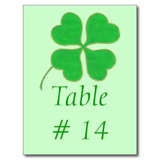 Table Number postcards, Green Shamrock trimmed in Gold Dots #shamrock #TableNumberCards