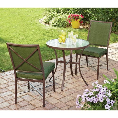 3 Piece Patio Garden Bistro Set Steel Pool Furniture Table Chairs