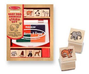 Melissa & Doug Baby Zoo Animals Stamp Set by Melissa and Doug. $7.99. Eight detailed baby zoo animal stamps and a 4color inkpad help kids create countless animal scenes, all conveniently contained in a colorful wooden box. It?s a tremendous value that children will use over and over again! Washable, nontoxic kidfriendCategory: Stamp SetsAge Rating: 4 yrs and up Dimensions: 6 x 4.8 x 1.8Safety Warnings: Contains Small Parts, Conforms to ASTM4236,. Melissa and Doug ...