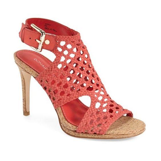 "Donald J Pliner 'Sania' Caged Slingback Sandal, 4"" heel (€220) ❤ liked on Polyvore featuring shoes, sandals, coral, cut out sandals, platform shoes, cork heel sandals, slingback sandals and high heel shoes"