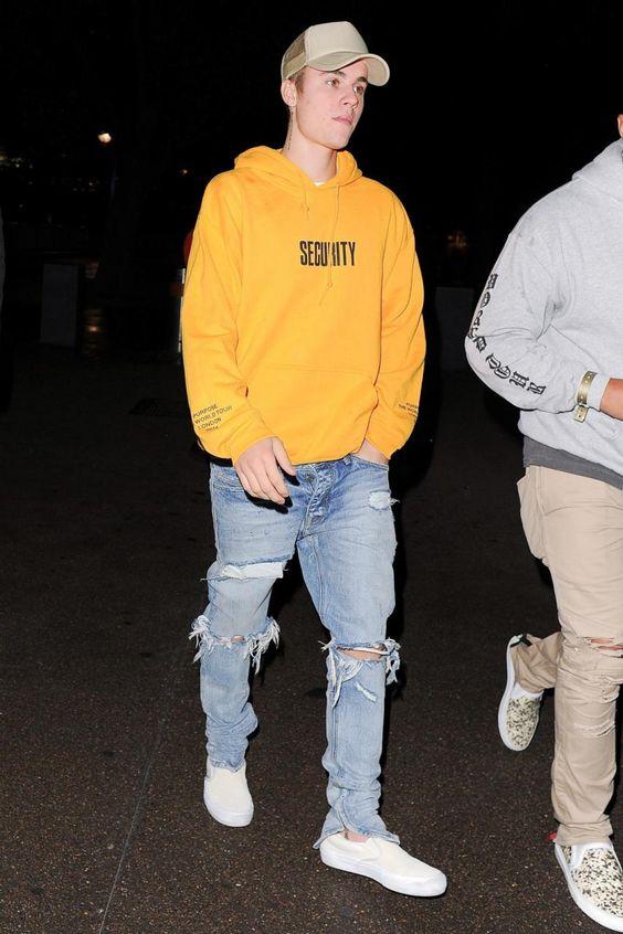 Justin Bieber wearing Lmdn Trucker Hat in Beige, Vans Slip-on Pro in Turtledove/Marshmellow and Purpose Tour VFiles Hoodie