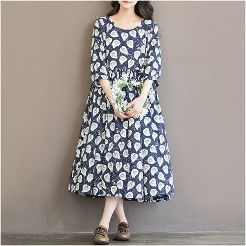 Blue print floral chiffon maxi dress oversize sundress summer half sleeve dressThis dress is made of cotton, linen fabric, soft and breathy, suitable for summer, so loose dresses to make you comfortable all the time.Measurement: Materials used: print chiffon