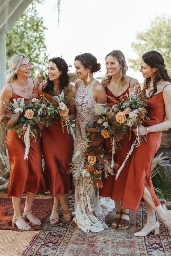 Copper Satin Bridesmaid Dress For Fall Wedding Wine Bridesmaid Dresses Rust Bridesmaid Dress Fall Wedding Bridesmaids