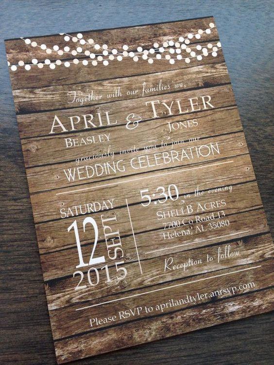 Rustic Wedding Invitation Barn Wedding Invitation Country