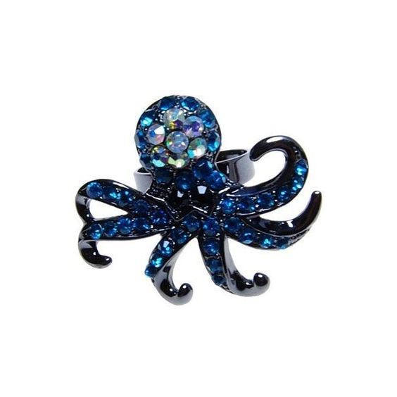 Amazon.com: Capri Blue Crystal Gun Metal Base Fashion Octopus Ring ❤ liked on Polyvore featuring jewelry, rings, blue, accessories, fillers, octopus ring, gunmetal ring, gun metal ring, gunmetal jewelry and blue crystal ring