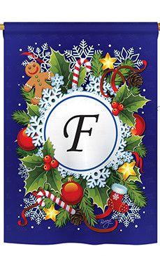 Winter F Monogram 2-Sided Vertical Flag