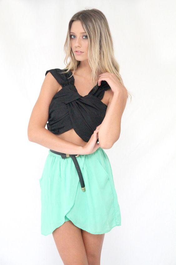 Box Top, Mint scalloped skirt