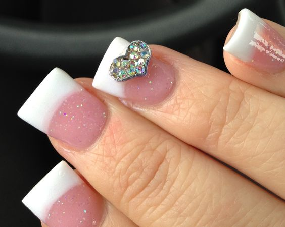 New nails! Heart charm, pink and whites
