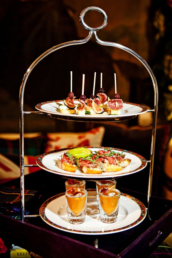 bright and fun three tiered appetizers