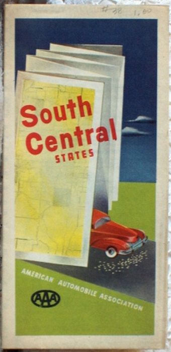 http://ajunkeeshoppe.blogspot.com/  ROAD MAP 1948 Triple A Routes Of 11 States South Central United States AAA