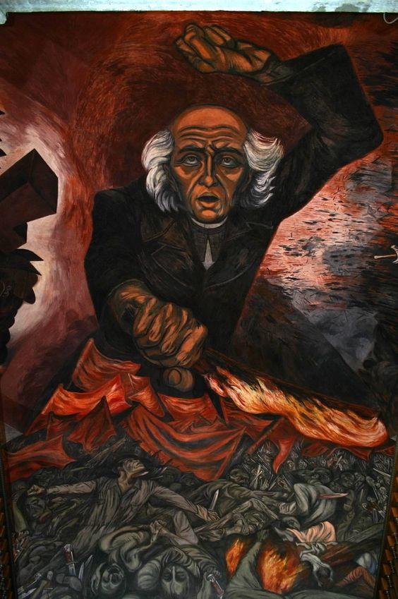 Mural by jose clemente orozco depicting miguel hidalgo for El mural guadalajara jalisco