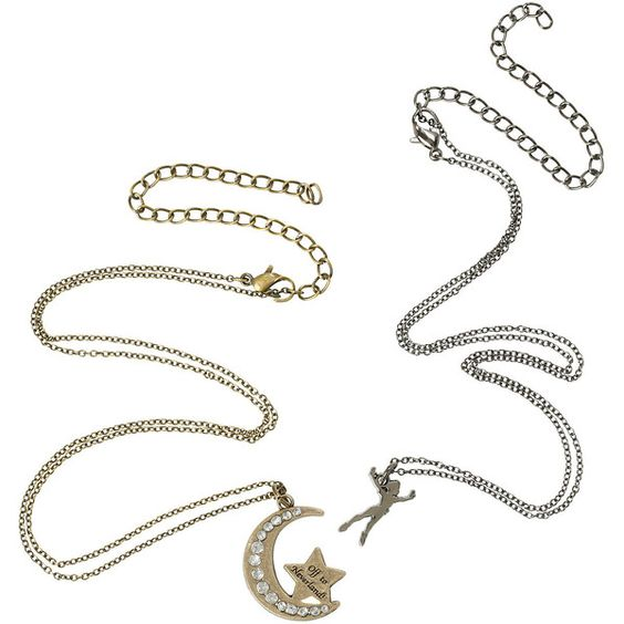 Disney Peter Pan Moon Neverland Necklace Set Hot Topic ($8.40) ❤ liked on Polyvore featuring jewelry, necklaces, long pendant, metal chain necklace, long pendant necklace, disney jewelry and disney necklace: