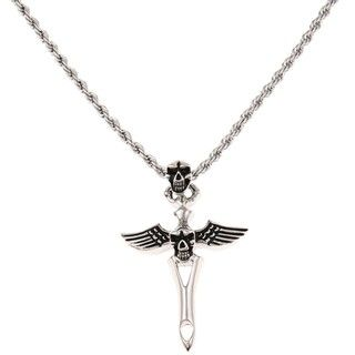 @Overstock - This bold men's necklace features a winged skull design that forms a cross, with a rugged yet polished look. The pendant is crafted of stainless steel and comes on a matching 24-inch rope chain.http://www.overstock.com/Jewelry-Watches/Stainless-Steel-Mens-Skull-and-Winged-Cross-Design-Necklace/6146163/product.html?CID=214117 $42.49
