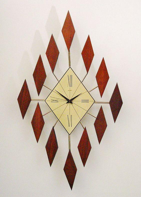 starburst clock of diamonds mid century modern sunburst