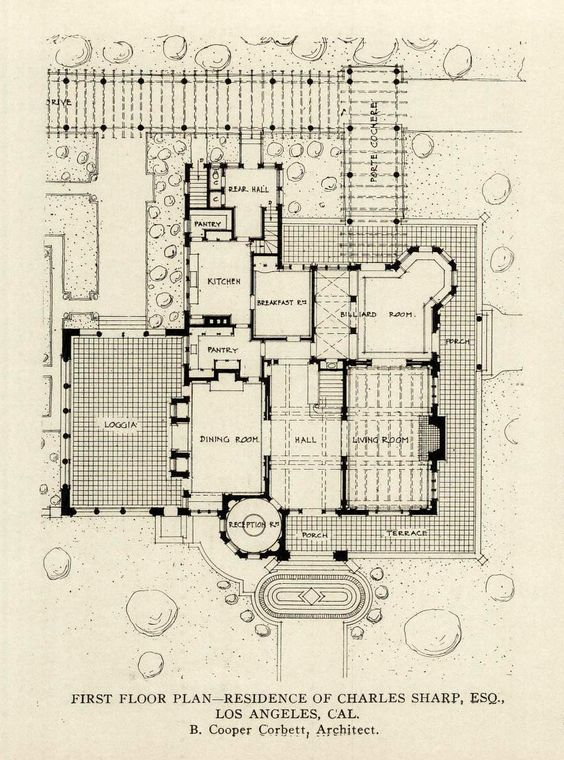 The first floor plan of the charles sharp esq residence for Floor plans los angeles