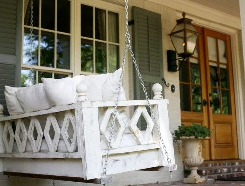 Swing bed porch swing home pinterest porch swings for Old porch swing