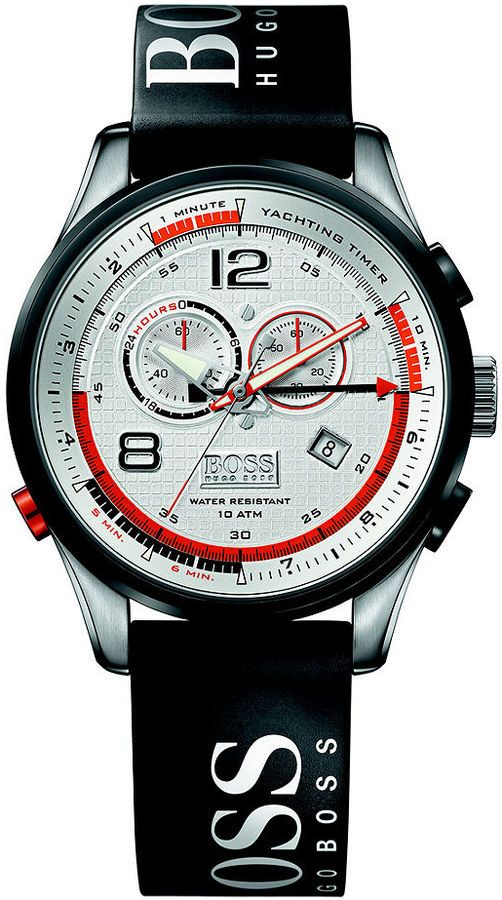 Hugo Boss Watch  (Regatta Black Rubber Strap, Chronograph, Orange Trim, Men's  Designer Wristwatch)