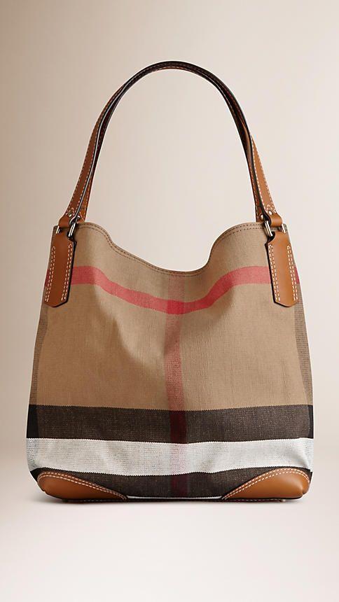 Saddle brown Medium Canvas Check Tote Bag - Image 1