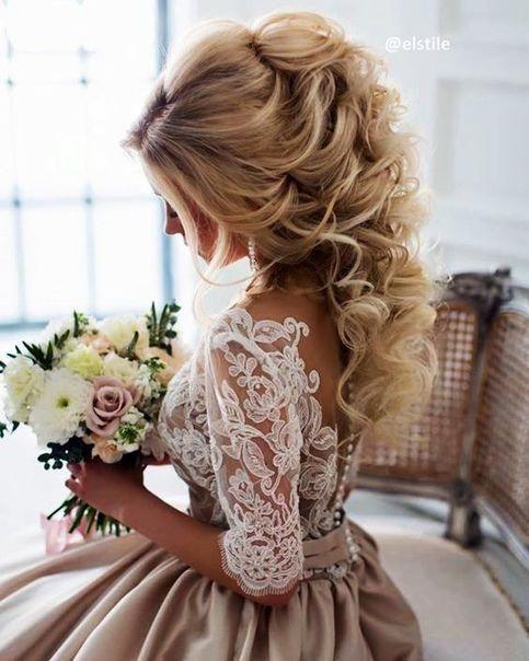 Chariming A Line Half Long Sleeves Champagne Wedding Dresses