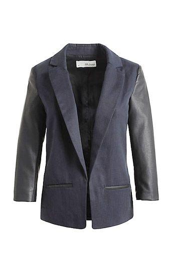 Prachtig jasje van Esprit: klassieke blazer met lederen mouwen