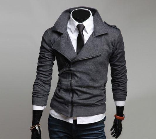 Many Zipper Big Turndown Collar Fitting Casual Fleece Coat For Men (DEEP GRAY,M) | Sammydress.com